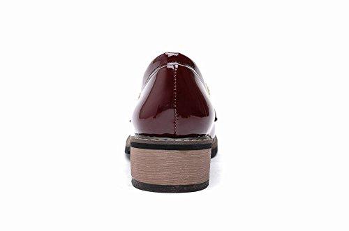 Mostra Brillanti Moda Donna Nappe Mocassini Scarpe Vino Rosso