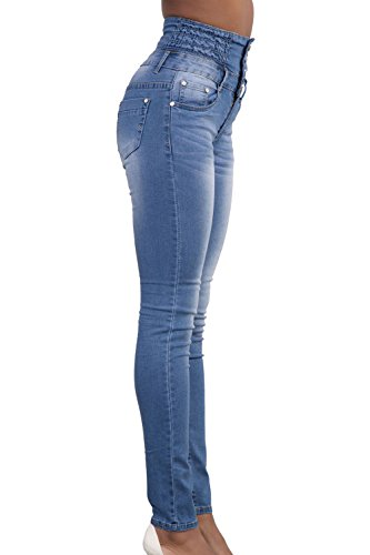 Slim Jeans Des Un blue Jambires Solide lastique Pantalons Cheville Pantalons xwqPc0OPIf