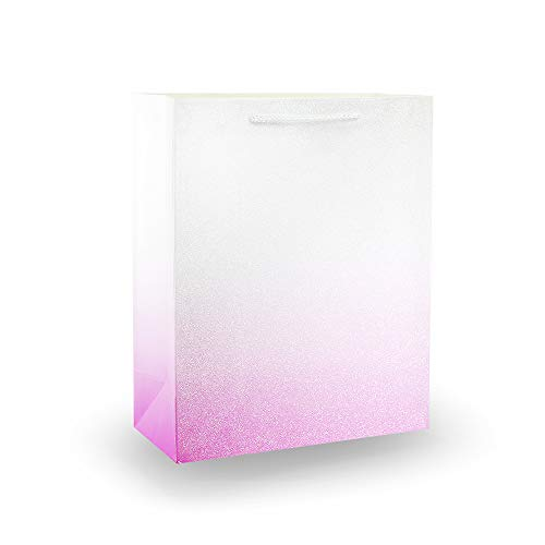 UNIQOOO 12Pcs Small Pink Glitter Ombre Sparkle Gift Bags, 9x7x4 inch, Shopping Gift Bag Designs for Christmas, New Year, Birthday, Holiday, Party, Wedding
