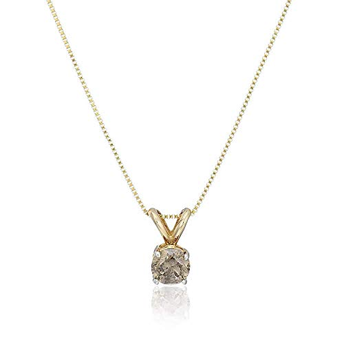 Vir Jewels 1 cttw Champagne Diamond Solitaire Pendant Necklace 14K Yellow Gold