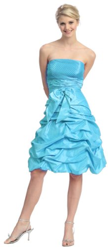 2009 Bridesmaid Dresses (Strapless Bow Pick-up Formal Bridesmaid Prom Dress #505 (4, Turquoise))