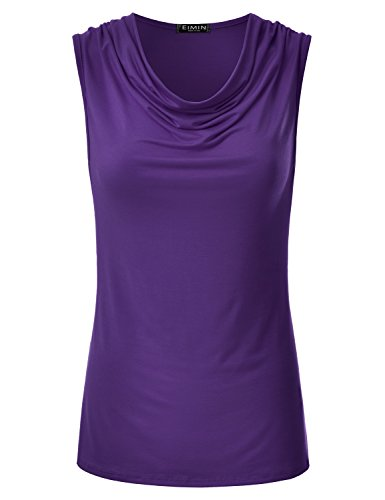(EIMIN Women's Cowl Neck Ruched Draped Sleeveless Stretchy Blouse Tank Top Purple M)
