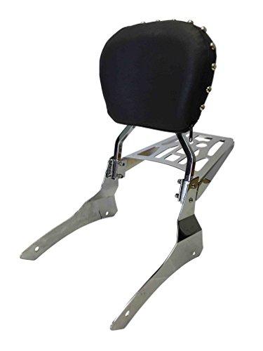 Studded Contoured - Sissy Bar Backrest & Luggage Rack for 99+ Yamaha Road Star 1600cc / 1700cc / 1600A / Silverado / Midnight / Wild Star