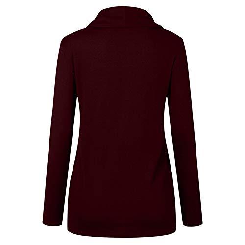 Hoodie Femmes Rouge Boutons Tops Asymétrie Longues Manches Robemon Blouse Vin Pull Sweat Femme Automne Printemps Shirt 5qExgS