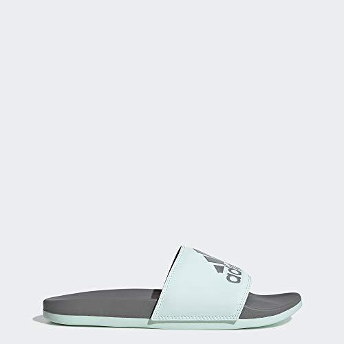 adidas Women's Adilette Comfort Sandal, ice Mint/Silver Metallic/Grey, 8 M US