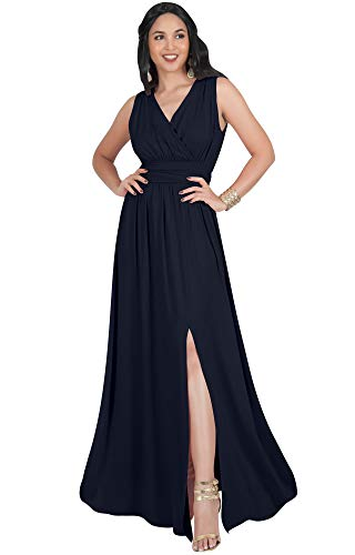 Full Evening Gown Length - KOH KOH Plus Size Womens Long Bridesmaid Wedding Guest Cocktail Party Sexy Sleeveless Summer V-Neck Evening Slit Day Full Floor Length Gown Gowns Maxi Dress Dresses, Navy Blue 2XL 18-20