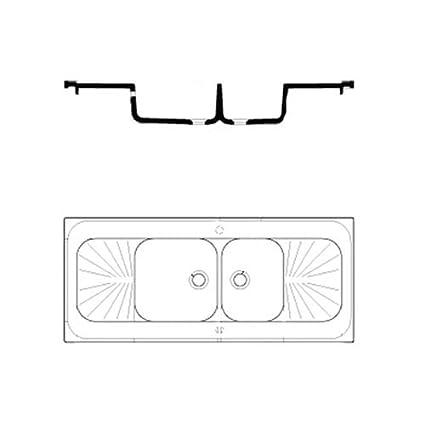 Biolab EVI 3182 - Fregadero de cerámica con 2 senos, 2 escurridores, 1400 x 600 x 900 mm