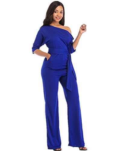 One Shoulder Jumpsuits for Women Elegant Night Sexy Casual Summer Rompers Dress Wide Leg Long Pants Plus Size Royal Blue M]()