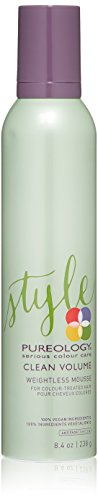 Pureology | Clean Volume Weightless Mousse | All-day Root Lift | For Fine, Color Treated Hair | Vegan | 8.4 oz.