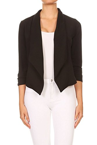 siness Casual Slim Fit Open 3/4 Scrunched Sleeve Shawl Collar Blouse Jacket Blazer (Large, Black) ()