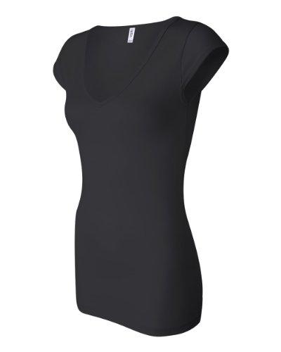 Sleeve Longer Length T-shirt (Bella Ladies' Sheer Rib Longer Length Cap Sleeve V-Neck T-Shirt, M,)