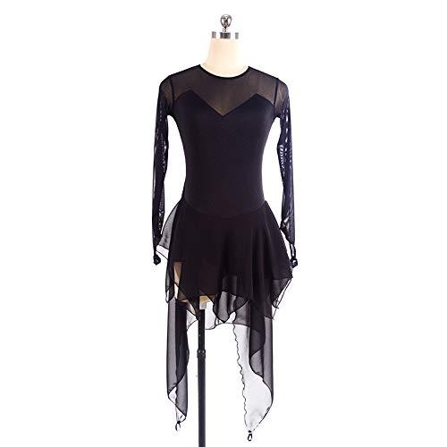 Muchachas Meshice Gzhgf La A Black Patinaje Vestido Swallowtail Mano Nylon Gimnasia Translúcido Artístico De Rítmica Las Hechas ppqzHYw