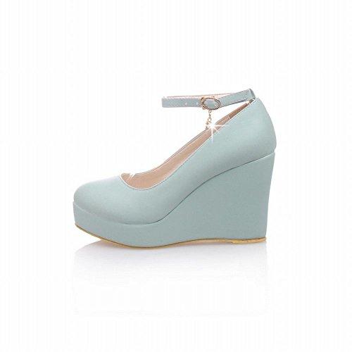 Carolbar Mujeres Sweet Tobillera Correa Elegance Hebilla Lolita Barbie Style Plataforma Cuña Heel Dress Bombas Zapatos Azul