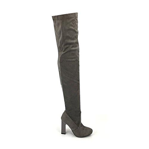 Miss Diva Cally Over The Knee Block Heel Boot GREY SUEDETTE