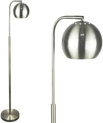 Mid Century Modern Floor Lamp by Lightaccents, Reading Light – Floor Lamp for Living Room – 59 Tall Brushed Nickel Finish