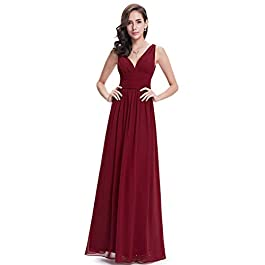 Ever Pretty Women's V Neck Empire Waist A-Line Chiffon Long Evening Dress 09016