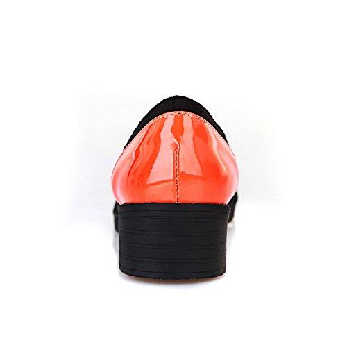 Amoonyfashion Dames Gesloten Ronde Neus Lage Hak Vierkant Hakken Lakleer Pu Diverse Kleuren Pumps Oranje