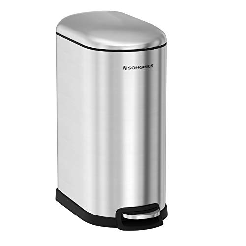 Step Trash Can, 40 L Slim Garbage Bin, Brushed Stainless Steel, with Inner Bucket, Slow Close, ULTB04NL ()