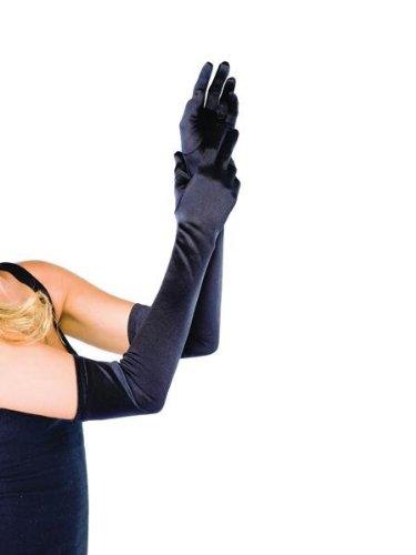 Long Satin Gloves - White