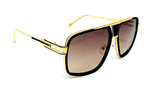 Gazelle Tycoon Aviator Sunglasses w/ Multicolor Lenses (Matte Black & Gold, Dark Brown - Womens Glasses Designer