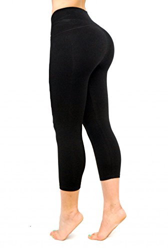 Black Capri Leggings, Butt Lifting Thigh Slimmers with High Rise Waist Control by Curvify (Fits a 39