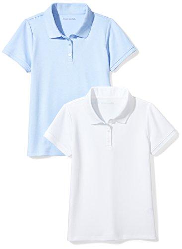 Amazon Essentials Big Girls' Uniform  Interlock Polo, White/Light Blue, M (8)