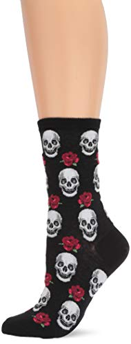Hot Sox Women's Conversation Starter Novelty Casual Crew Socks, Skulls And Roses (black), Shoe Size: 4-10 ()