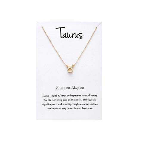 Sign Gold Necklace Astrological - Snowpra 12 Constellation Pendant Necklace Astrology Gold Tone Chain with Message Card