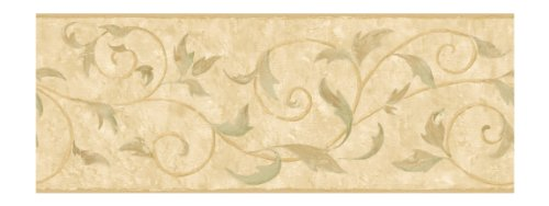 - York Wallcoverings II Vine Scroll Prepasted Border, Tan/Beige/Brown/Sage Green