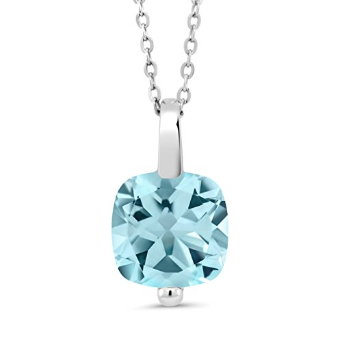 Gem Stone King 4.25 Ct Cushion Sky Blue Topaz 925 Sterling Silver Pendant With Chain