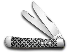 (CASE XX White Pearl Corelon Basketweave 1/600 Trapper Pocket Knife Knives)