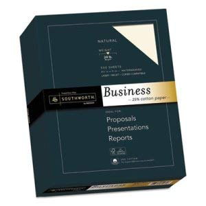 Southworth Co 25% Cotton Business Paper, Natural, 24 lbs, Wove, 8-1/2 x 11, 500/Box, FSC (10 Boxes)