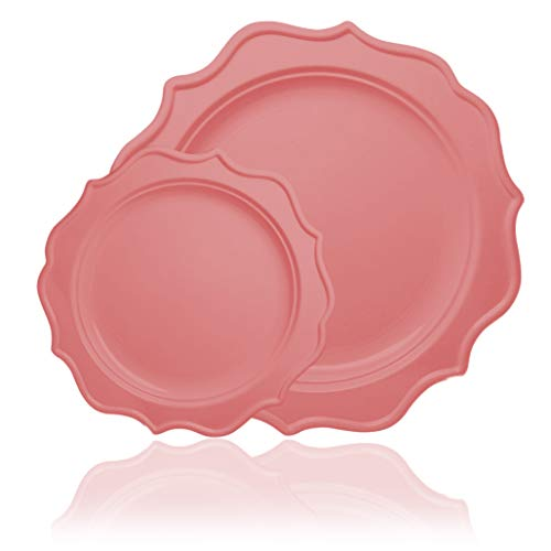 Tiger Chef 96-Pack Pink Color Round Scalloped Rim Disposable Plastic Plate Set for 48 Guests Includes 48 10-Inch Dinner Plates, 48 8-Inch Salad Plates - BPA-Free