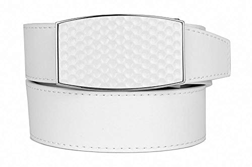 2019 Aston Eagle White Leather Golf Belt for Men with Adjustable Golf Ball Pattern Ratchet Buckle - Nexbelt Ratchet System Technology