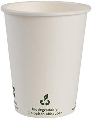 BIOZOYG Vaso de café Cartón I Vajilla compostable y Biodegradable I Vaso de Bebida Vaso Hecho de cartón I desechable Vaso de café Blanco con impresión Icone 50 Piezas 200 ml 8 oz