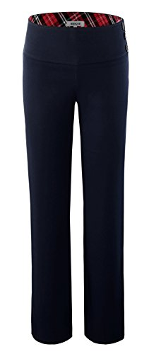 Bienzoe Girl's School Uniforms High Tech Durable Adjust Waist Pants Navy 14 by Bienzoe