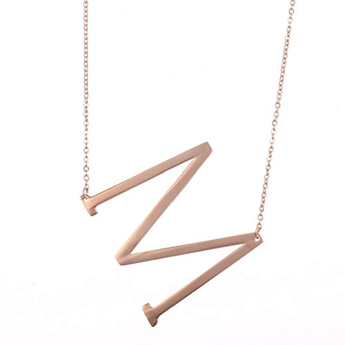 DIANE LO'REN 18kt Rose Gold Plated Women's Classic Stainless Steel Big Letter Necklace Sideways Initial Chain Script Pendant Name Long Necklaces for Women (Rosegold Letters A-Z) (M)