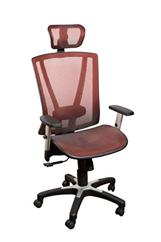 ErgoMax Fully Meshed Ergonomic Height Adjustable High Back Office Desk Chair w/Armrests & Headrest, 52 Inch Max, Red