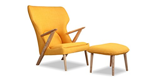 Kardiel Cub Modern Lounge Chair & Ottoman, Citrine Vintage Twill