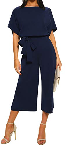 BTFBM Women Short Sleeve Plain Casual Party Loose Fit Wide Leg Pant Jumpsuit Romper with Belt (Style 2 - Navy, Large)
