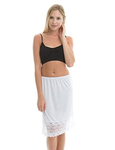 Kolouri Women's 21inch Stretch Lace Half Slip Medium White (Camisole Slip Stretch)
