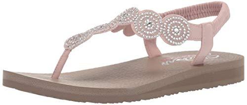 - Skechers Women's Meditation-Stars & Sparkle-Circular Rhinestone Slingback Thong Flip-Flop, Light Pink, 8 M US