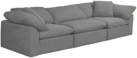 Sunset Trading Cloud Puff 3 Piece Modular Performance Gray Sectional Slipcovered Sofa