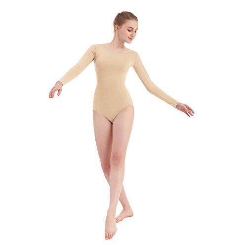- Women's Scoop Neck Lycra Spandex Long Sleeve Leotard (Small, Nude)