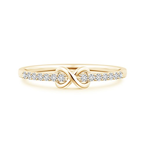 - Round Lab Grown Diamond Infinity Promise Ring in 14k Yellow Gold
