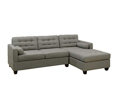 Benzara BM167242 Polyfiber Sectional Sofa, Gray