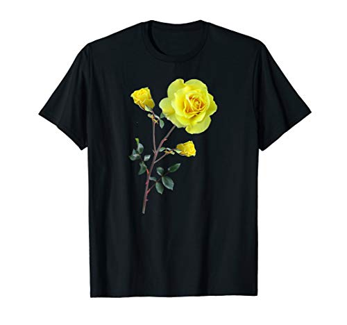 Rose Yellow T-shirt - Yellow Rose T-Shirt Botanical Shirt for Women