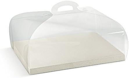 Caja de PVC con Base Piel Blanco Portatorta Porta tartas 34 x 24 x 12 cm: Amazon.es: Hogar