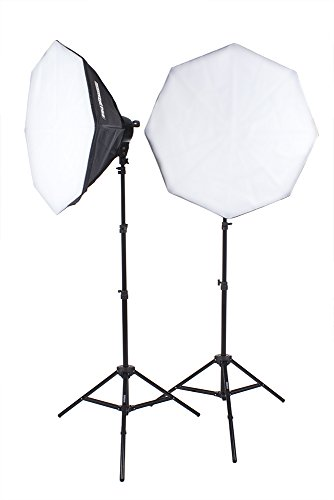 StudioPRO 3200W Double 7 Socket Photo Studio Continuous Portrait Video Lighting Kit with Light Stand, Two (2) 32″ Octagon Softboxes with Fourteen (14) 45W Fluorescent Bulbs
