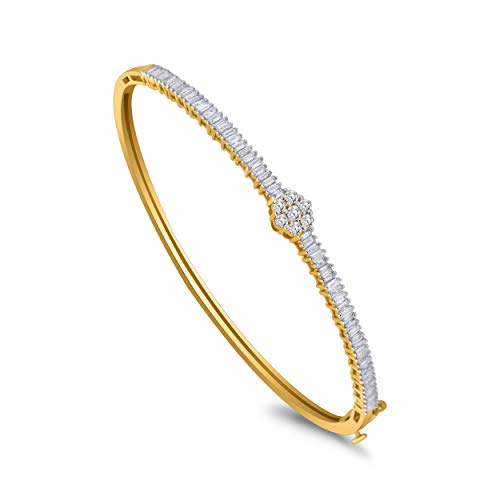 IGI Certified 10K Gold Round & Baguette Diamond Flower Style Cluster Bangle Bracelet (0.86 Ct) (yellow-gold)